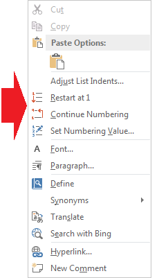 Figure 2. The Numbering shortcut menu.