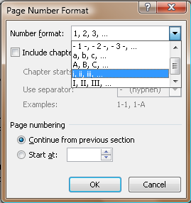 Figure 2. Page Numbering Format dialog box, Word 2007 version (though they all look alike).