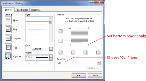 Figure 2. The Borders and Shading dialog box.