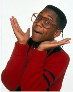 Steve Urkel from the TV show Family Matters.