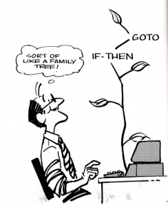 Figure 1. A Bob Stevens cartoon from CompuSoft's Learning IBM BASIC.