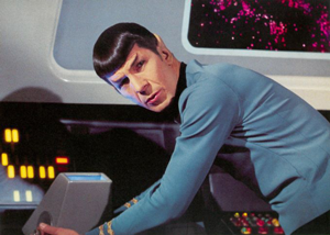 Leonard Nimoy as Star Trek's Mr. Spock.