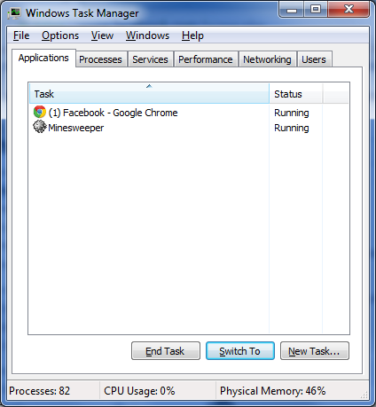 Figure 1. The Task Manager window shows two programs running.