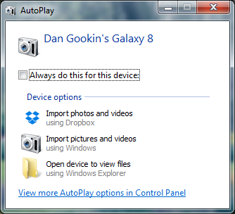 Figure 1. The AutoPlay dialog box for my Samsung Galaxy Tab 8.