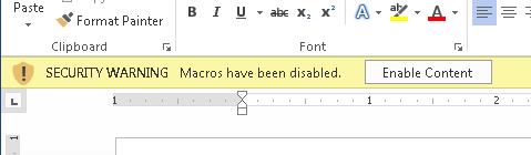 Figure 1. The Word document macro warning.