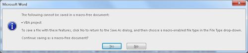 Figure 2. The save file macro warning.