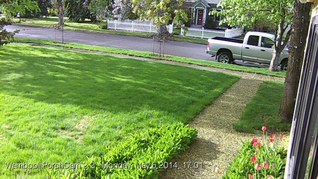 Figure 1. PorchCam 2.2 first successful image text, May 5, 2014, 17:40.