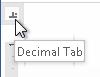 Figure 4. Choosing the Decimal Tab.