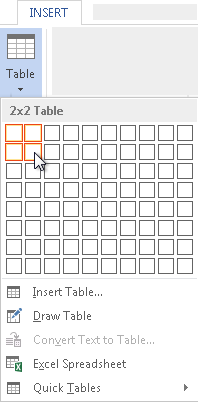 Figure 2. Creating a simple, 2-by-2 table.