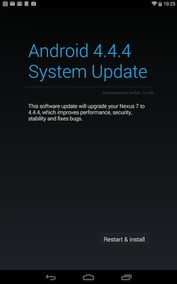 Android 4.4.4 upgrade screen.