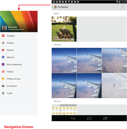 Figure 1. The Photos app, On Device view. Tap a category to view images.