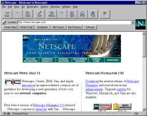Figure 1. A screen shot of Netscape in 1996. (Click to embiggen.)