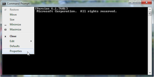 Figure 1. Finding the Properties command for a command prompt window.