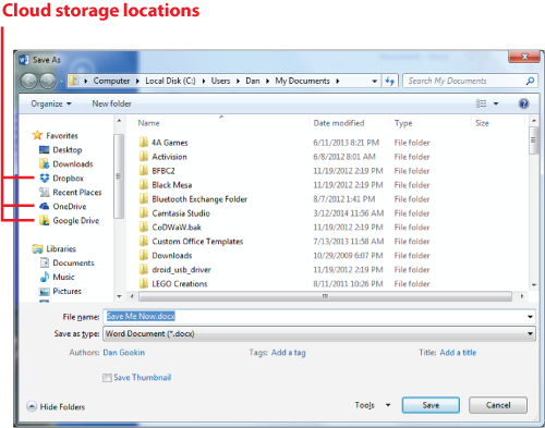 Figure 1. Finding cloud storage in the typical Save As dialog box.
