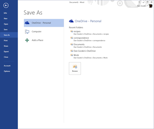 Figure 2. The Back Stage screen in Office 2013 allows for quick access to OneDrive cloud storage.