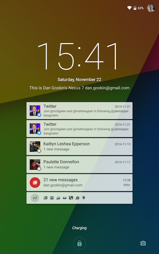 Figure 1. Lock screen notifications.