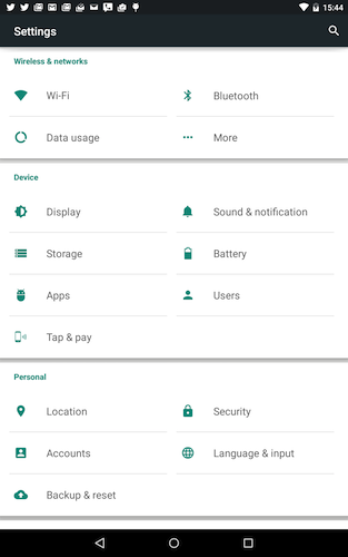 Figure 5. Android 5.0's vastly improved Settings app interface.
