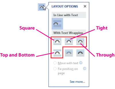 Best layout option for figures in word
