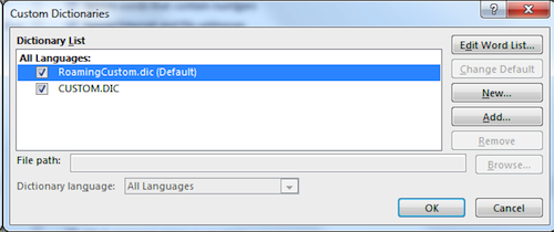 "Figure 1. Choose the ""default"" dictionary, which is the one to which you add new words."