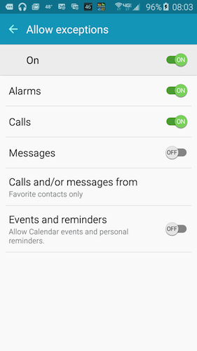 Figure 2. Setting exceptions for Do Not Disturb mode.