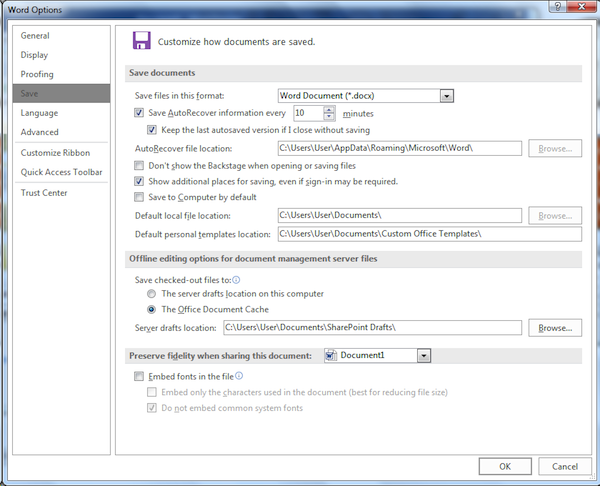 Figure 1. The Save portion of the Word Options dialog box.