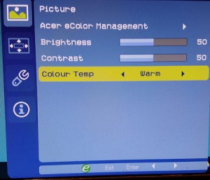 Figure 1. Color temperature settings on my (obviously British) monitor.