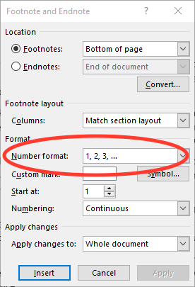 Figure 1. Setting the footnote/endnote number format.