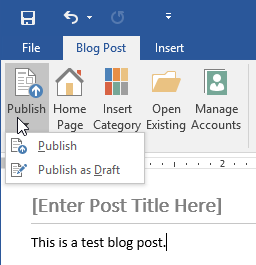 Figure 1. The Blog Post tab in Word 2016.