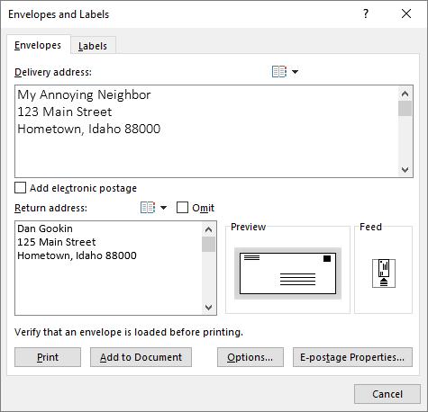 Figure 1. The Envelopes and Labels dialog box, Envelopes tab.