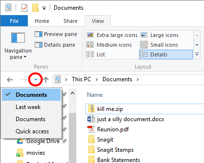 Figure 3. Locating the previous folders icon.