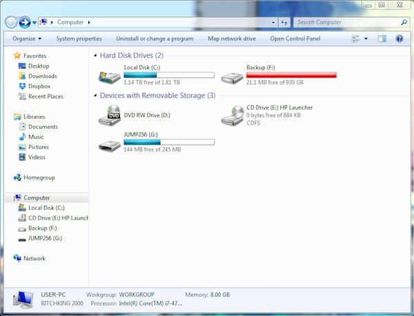 Figure 1. The PC's external backup hard drive is too full to accommodate further backups.