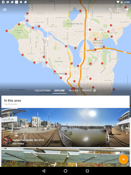 Figure 1. The Street view app showing Seattle. Street view collections appear at the bottom of the screen; red dots represent user-supplied street view images.