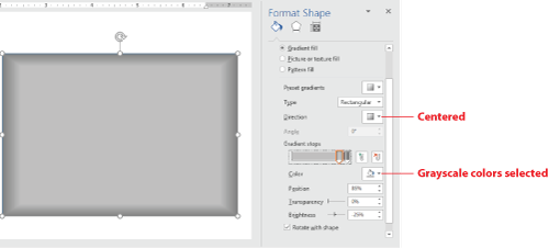 Figure 2. A rectangular gradient creates a beveled effect.