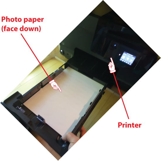 Figure 1. Loading photo paper into the printer.