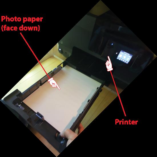 Figure 1. Loading photo paper into the printer.