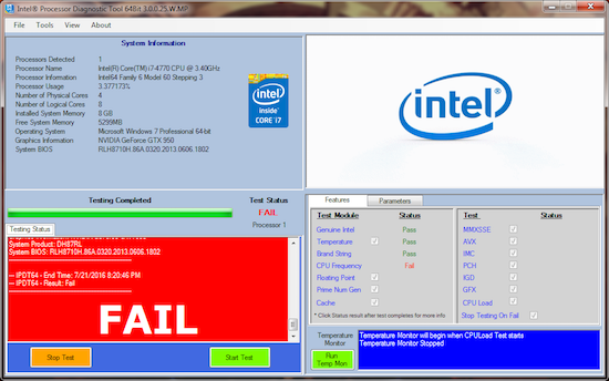 Figure 3. The Intel diagnostic tool finally discovers the cause.