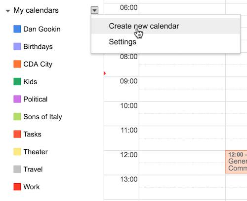 Figure 1. My calendar categories on the Google Calendar website.