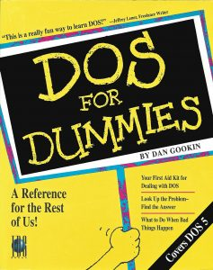 Figure 1. The original cover of DOS For Dummies, the first For Dummies title, published in 1991.