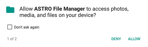 Figure 1. The storage permission card for the ASTRO file manager app.