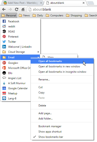 Figure 1. Opening all the bookmarks in a submenu.