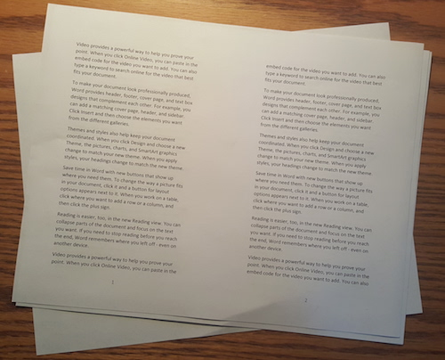 Figure 1. Printed output from Word, two pages per sheet.