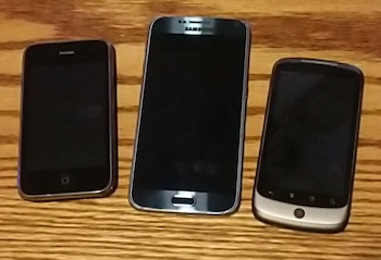 Figure 1. A iPhone 3, Samsung Galaxy S6, and original Nexus One phone for size comparison.
