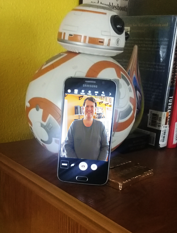 Figure 3. BB-8 helps me prop-up my phone for a timed self-shot.