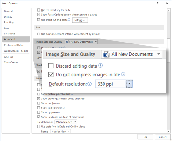 Locating Image Compression Settings In The Word Options Dialog Box